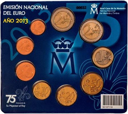Obverse of Spain Official Blister - 75th Anniversary of the King  2013