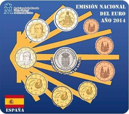 Obverse of Spain Official Blister - Galicia 2014