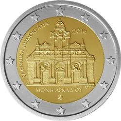 Obverse of Greece 2 euros 2016 - Arkadi Monastery
