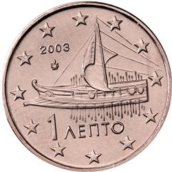 Obverse of Greece 1 cent 2014 - Athenian triere