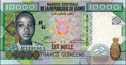 Guinee 10 000 Franc Banknote