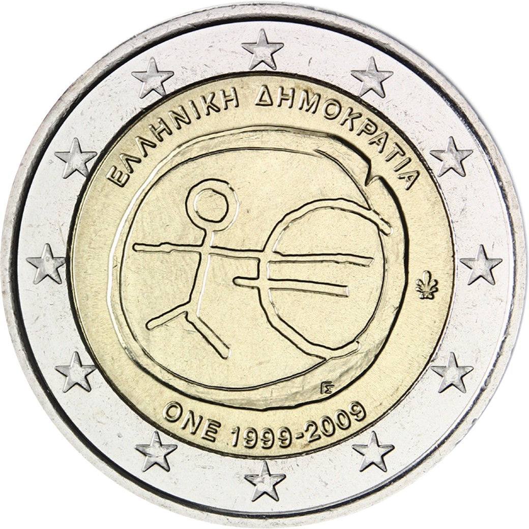 Greece 2 Euro 2009 10th Anniversary Of The Emu And The