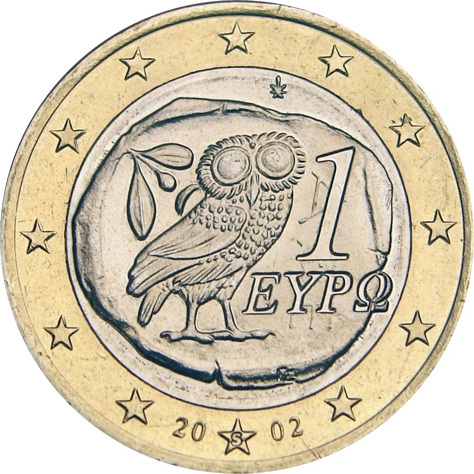 Greek 1 Euro coin with little owl, 2002