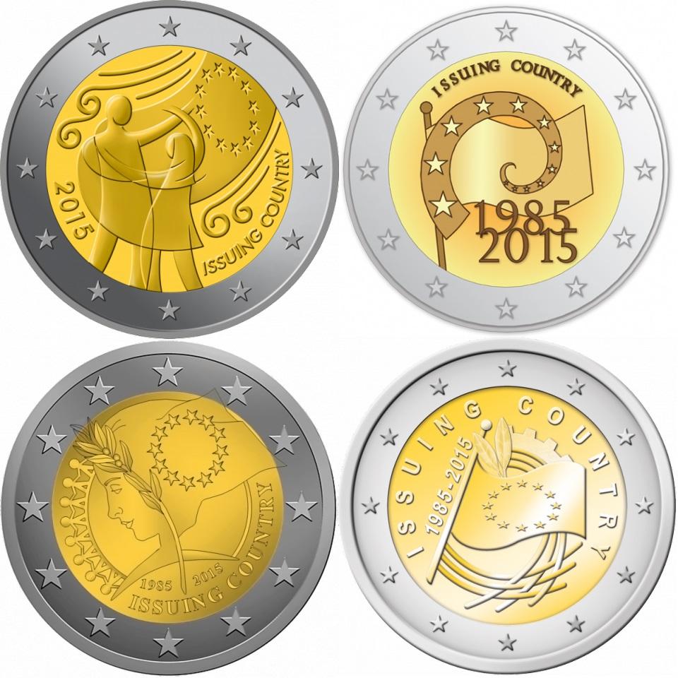 "Slovenia 2 euro coin 2015 /""30th anniversary of the EU flag/"" UNC"
