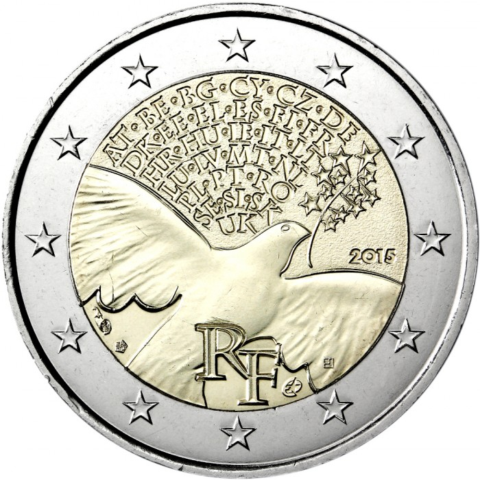 5c1f3032af Obverse of France 2 euros 2015 - 70 years of Peace in Europe