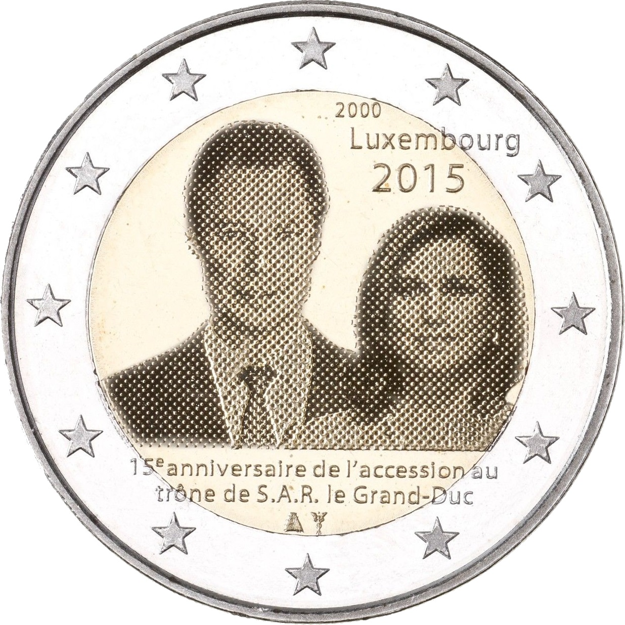 luxembourg 2 euro 2015 15th anniversary of the accession. Black Bedroom Furniture Sets. Home Design Ideas