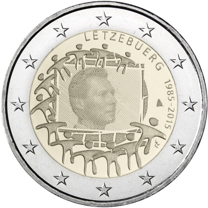 luxembourg 2 euro 2015 30th anniversary of the eu flag. Black Bedroom Furniture Sets. Home Design Ideas