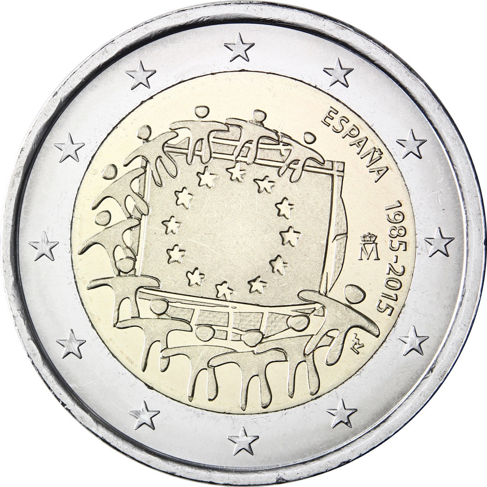 spain 2 euro 2015 30th anniversary of the eu flag eur30446