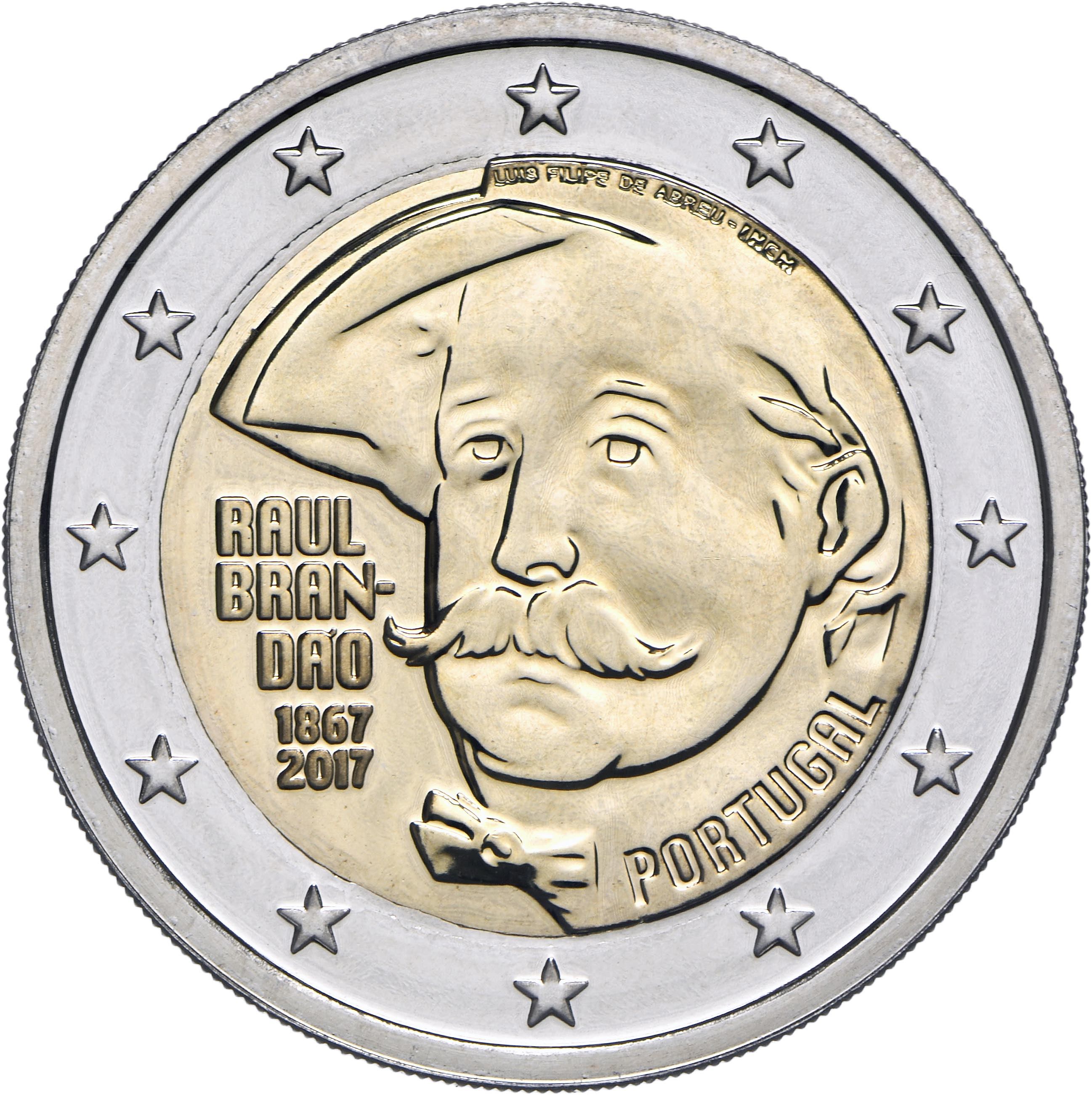 portugal 2 euro 2017 150 years of the birth of raul brandao eur30595