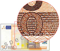 Microprinting on euro banknotes