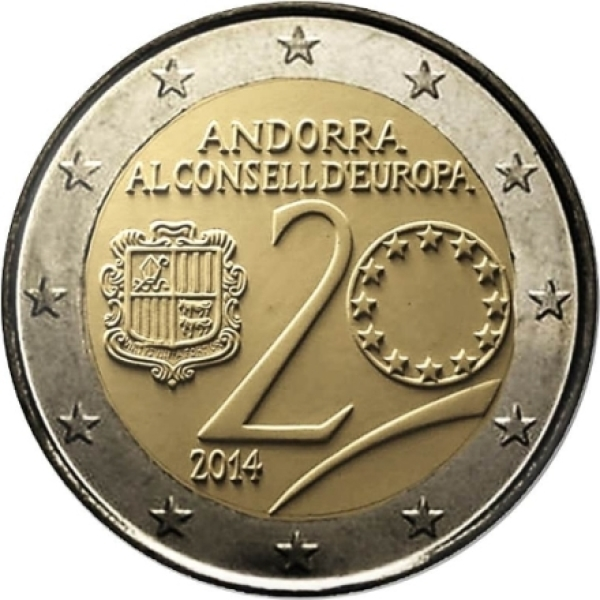 andorra 2 euro 2014 20 years in the council of europe eur28282. Black Bedroom Furniture Sets. Home Design Ideas