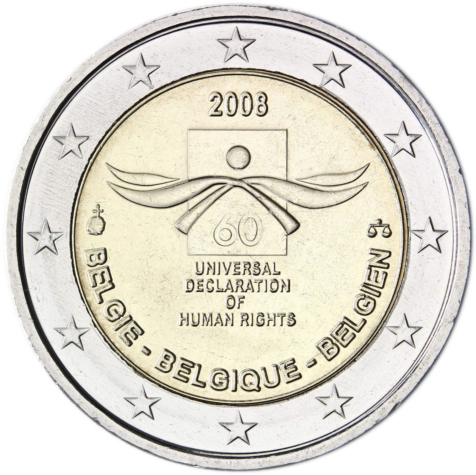 Belgium 2 Euro 2008 60th Anniversary Of The Universal Declaration