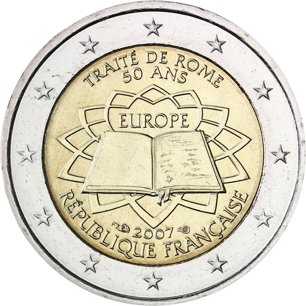 france 2 euro 2007 50th anniversary of the treaty of rome eur1269. Black Bedroom Furniture Sets. Home Design Ideas