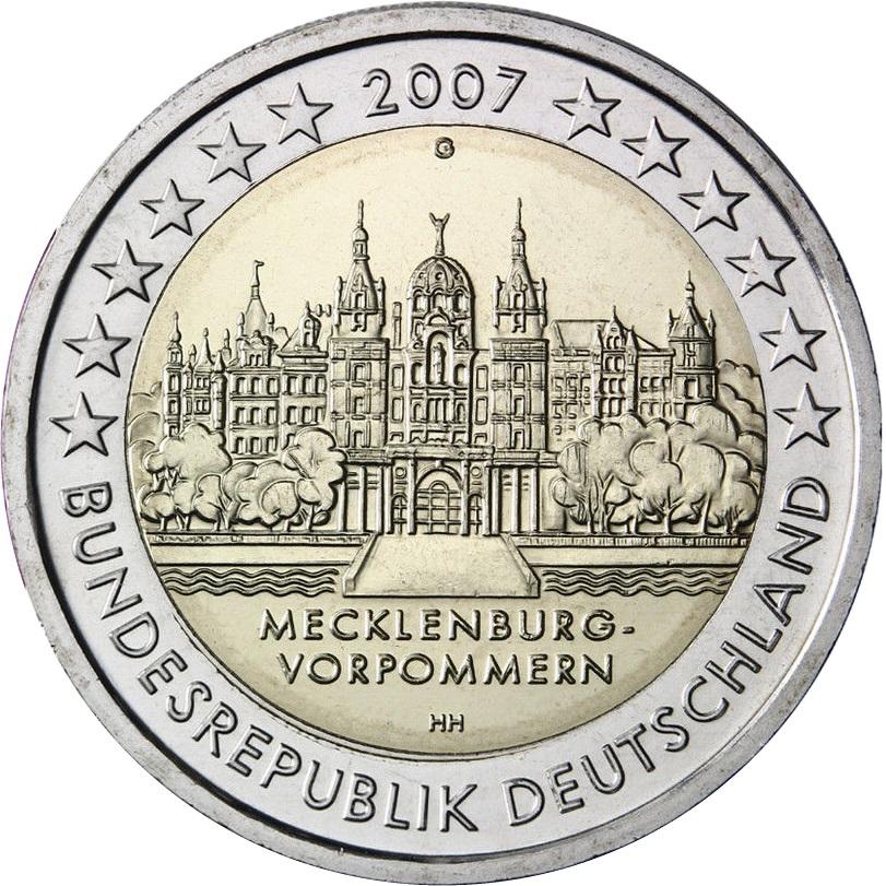 Germany 2 Euro 2007 Mecklenburg West Pomerania Schwerin Castle