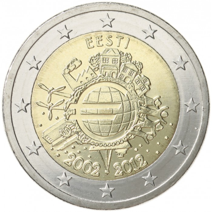 Estonia 2 Euro 2012 10 Years Of Euro Banknotes And Coins