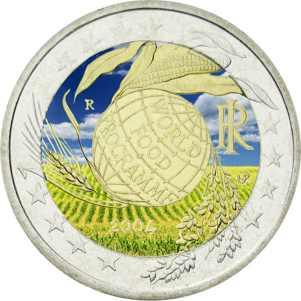 Colored Italy 2 Euro 2004 5th Decade Of The World Food Programme Eur16962