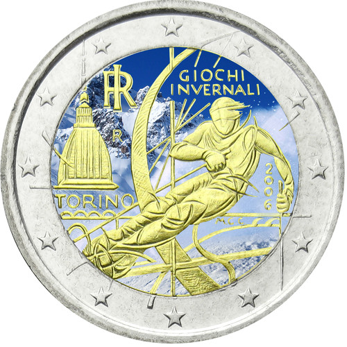 Colored italy 2 euro 2006 xx olympic winter games for Coin torino