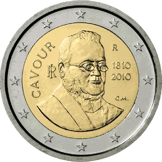 italy 2 euro 2010 200th birthday of camillo benso conte di cavour eur16376. Black Bedroom Furniture Sets. Home Design Ideas
