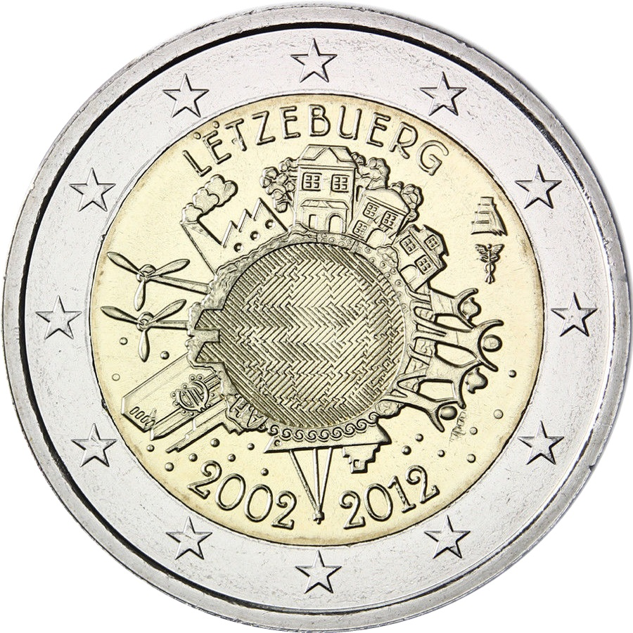 luxembourg 2 euro 2012 10 years of euro banknotes and. Black Bedroom Furniture Sets. Home Design Ideas