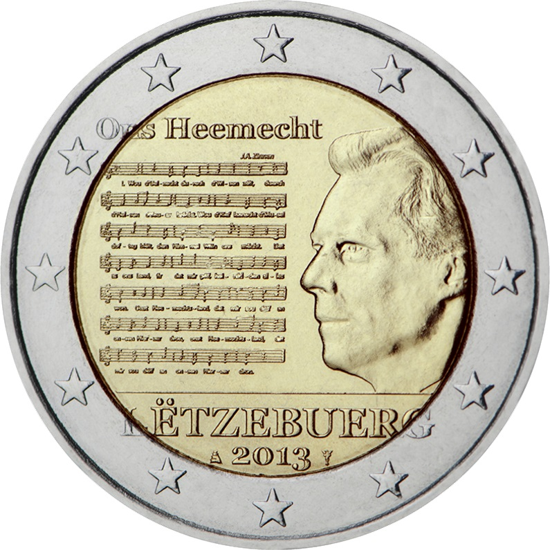 luxembourg 2 euro 2013 national anthem of the grand. Black Bedroom Furniture Sets. Home Design Ideas
