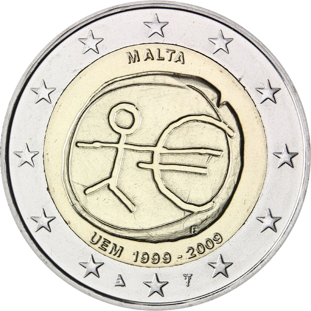 malta 2 euro 2009 10th anniversary of the emu and the. Black Bedroom Furniture Sets. Home Design Ideas