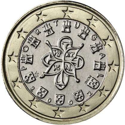 Obverse Of Portugal 1 Euro 2003 Portuguese Royal Seal Ad 1144