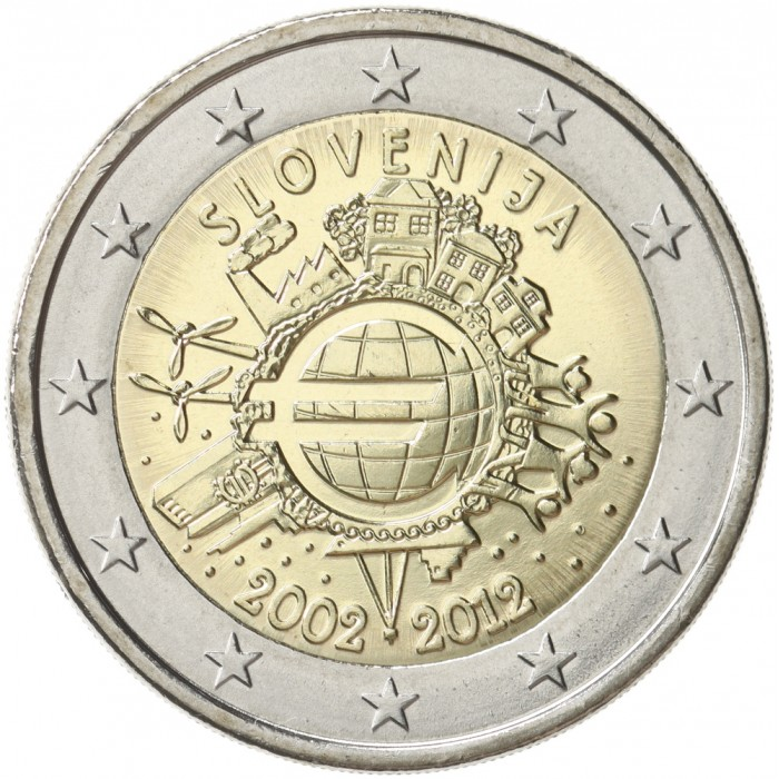 slovenia 2 euro 2012 10 years of euro banknotes and. Black Bedroom Furniture Sets. Home Design Ideas