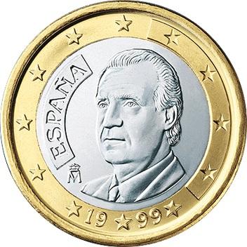 Obverse Of Spain 1 Euro 2003 King Juan Carlos I De Borbon Y