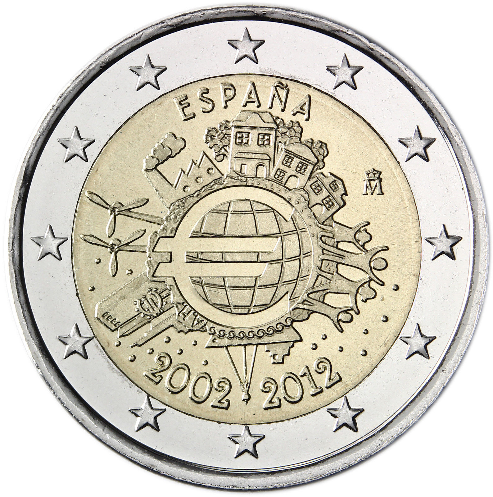 Spain 2 Euro 2012 10 Years Of Euro Banknotes And Coins