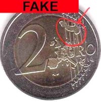 Fake euro coins picture