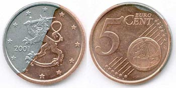 Fake 4 euro cents coin